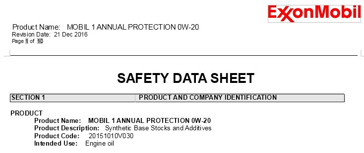 New Mobil OilM1 Annual Protection