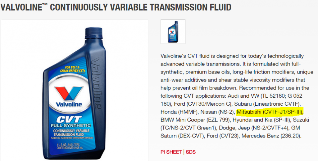 CVT fluid for 2015 Mitshubishi outlander sport - Bob Is The Oil Guy