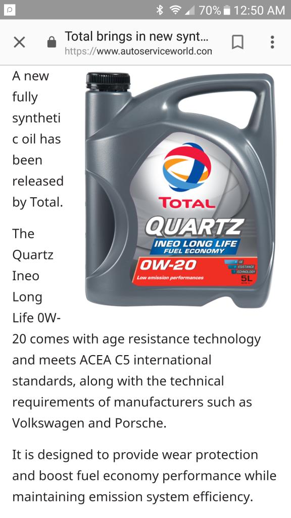 Total Quartz 0W20 ACEA C5 Porsche & VW requirement - Bob Is