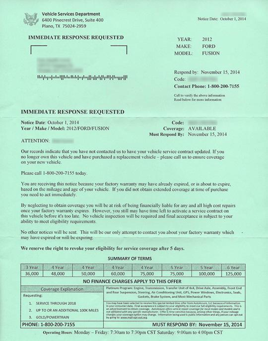 Vehicle Service Department Letter >> Automobile Warranty Scam Letters Bob Is The Oil Guy