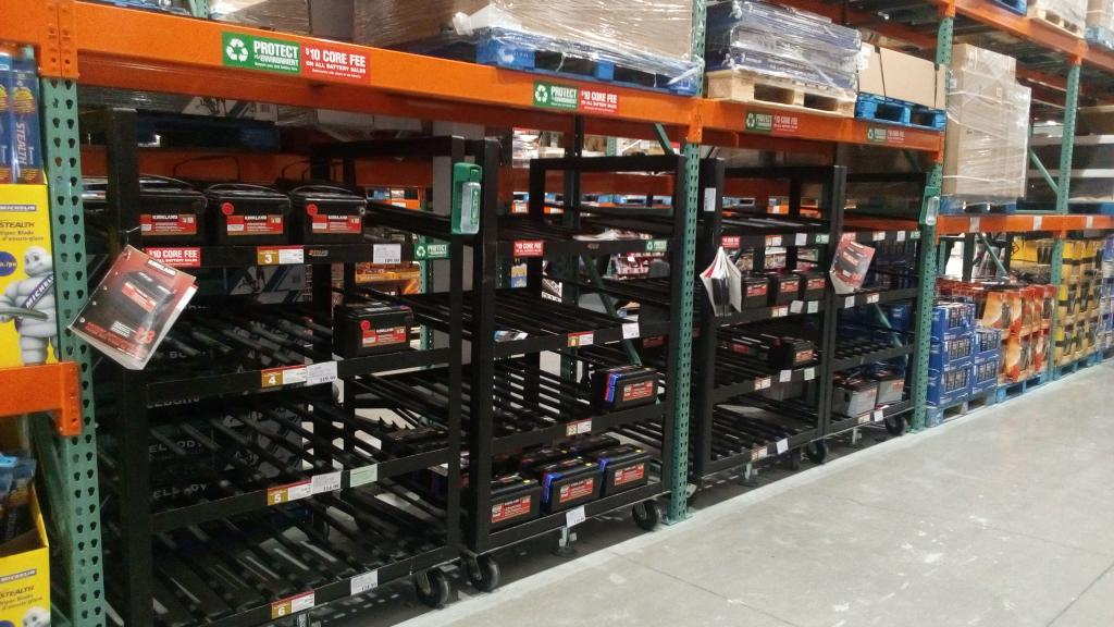 costco battery rack almost empty bob is the oil guy. Black Bedroom Furniture Sets. Home Design Ideas