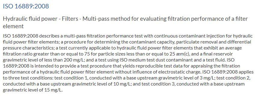 ISO 16889 1999 Multi-pass Test