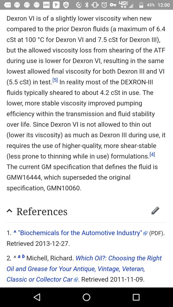 dexron III instead of dexron VI  *gulp* - Bob Is The Oil Guy